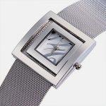Square <b>Silver</b> Bangle Watches for Women Japan Quartz Full Steel Mesh <b>Bracelet</b> Wristwatch Analog Fashion Dress Clock Reloj NW1763