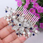 Bella <b>Fashion</b> Austrian Crystal Flower Bridal Hair Comb Rhinestone Simulated Pearl Wedding Headpiece Side Comb For Party <b>Jewelry</b>