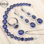 Blue Zircon White Rhinestones <b>Silver</b> 925 Bridal Jewelry Sets Earrings/Pendant/Necklace/Rings/<b>Bracelets</b> Set For Women Free Box