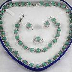 Lovely Women's Wedding Natural Light Green GEM stone Necklace Bracelet Earring Ring <b>Jewelry</b> Sets AAA 5.23 silver-<b>jewelry</b> moda
