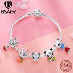 925 <b>Sterling</b> <b>Silver</b> Bracelets Cute Animal Dog Bulldog Rabbit Femme Bracelets & Bangles for Women Authentic <b>Silver</b> <b>Jewelry</b> ECB808