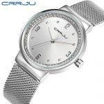 New Top brand CRRJU watch women luxury dress full steel watches fashion casual Ladies quartz watch <b>silver</b> Female table clock