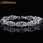 CWWZircons Oval Genuine Mystical Rainbow Fire CZ Crystal Bracelet Solid 925 Sterling Silver Vintage Gift For Women <b>Jewelry</b> CB174