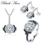 [BLACK AWN] 925 Sterling <b>Silver</b> Fine Jewelry Sets Trendy Engagement Sets Necklace+<b>Earring</b>+Ring for Women PTR021