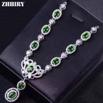 ZHHIRY Natural Green Diopside Necklace Genuine 925 <b>Sterling</b> <b>Silver</b> Necklace Pendant For Women <b>Jewelry</b> Party