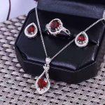 Natural red garnet gem <b>jewelry</b> sets natural gemstone ring Pendant earrings 925 <b>silver</b> Elegant water drops women party <b>jewelry</b>