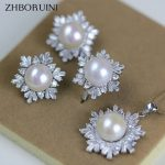 ZHBORUINI 2017 Fashion Pearl Jewelry Set Natural Pearls Snowflake 925 Sterling <b>Silver</b> <b>Necklace</b> Earrings Pendant Ring For Women