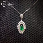 Elegant <b>silver</b> emerald pendant for woman 4 mm*6 mm natural Zambia emerald necklace pendant for party 925 <b>silver</b> emerald <b>jewelry</b>