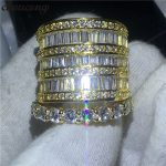 choucong <b>Handmade</b> Big ring set Yellow Gold Filled 925 silver Engagement Wedding Band Rings For Women Clear AAAAA zircon <b>Jewelry</b>