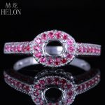 HELON 925 <b>Sterling</b> <b>Silver</b> 6x4mm Oval Cut 0.55ct 100% Real Natural Diamond & Genuine Rubies Semi Mount Wedding Fine <b>Jewelry</b> Ring