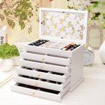 Top <b>Fashion</b> <b>Jewelry</b> Box Carved Organizer Organizador Solid Wood Cosmetic Box Storage Princess Decoration Eco-friendly Rectangle