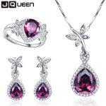 Wedding Bridal Jewelry Sets 925 Sterling <b>Silver</b> Necklace <b>Earrings</b> Ring Jewelry Set Water Drop Garnet Ring Size 6 7 8 9
