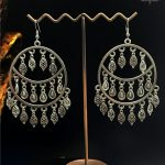 Turkish Indian vintage Round <b>Handmade</b> Big earrings Ancient Silver Leaf Tassel Earrings Unique Indian Thai Tribal Style <b>Jewelry</b>