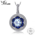 Jewelrypalace Spark Flower 1.6ct Genuine Sky Blue Topaz Created Blue Spinel Cluster Pendant <b>Necklaces</b> Chain 925 Sterling <b>Silver</b>