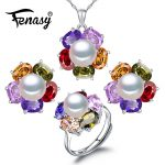 FENASY 2018 new ruby fashion retro pearl Jewelry Sets for women Wedding Suit jewelry sets Geometry sets,925 <b>silver</b>