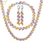 U7 Noble Leaf Wedding <b>Necklace</b> Set Yellow Gold Color Trendy <b>Necklace</b> Earrings Bracelet Bridal <b>Jewelry</b> Set For Women S581