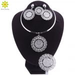 2018 Fashion Wedding Engagement Jewelry Gift <b>Silver</b> Color Coin Women Jewelry Sets Necklace Earrings African Beads Jewelry Set