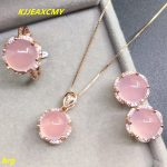 KJJEAXCMY Fine jewelry, 925 Rose gold-plated chalcedony lady pendant necklace ring <b>earring</b> jewelry set three-piece suit