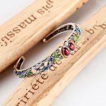 Red Blue Stone Bangle 925 <b>Sterling</b> <b>Silver</b> Flower MARCASITE Open Size 5.6cm S925 Thai <b>Silver</b> Bangles for Women <b>Jewelry</b>