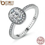 BAMOER 100% 925 Sterling Silver Vintage Elegance & Clear CZ Engagement Ring for Women Wedding Sterling Silver <b>Jewelry</b> PA7608