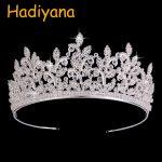 Hadiyana Brides <b>Wedding</b> Tiara Luxury Full CZ Stunning Zircon Princess Crown Coronet Birdes Hair <b>Jewelry</b> Accessories Party BC3659