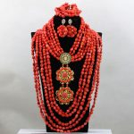 Luxury African Wedding Coral Beads Jewelry Set Nigerian Flower Brooch Pendant Statement Necklace Beads Set Free Shipping QW203