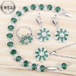 925 Sterling <b>Silver</b> Green Zircon Jewelry Sets For Women <b>Bracelets</b> Necklace Rings Earrings Set Jewelery With White Stone Gift Box