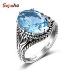 Szjinao Solid 925 Sterling Silver Rings For Women Anchor Pattern Ethnic <b>Handmade</b> Aquamarine Fashion Party <b>Jewelry</b> New Year Gift