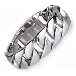 Biker Mens Groumette Chain Bracelet Silver 316L Stainless Steel Bracelets Bangles Large Heavy Motorcycle Charm <b>Jewelry</b> 20mm Wide