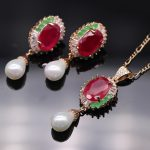 GZJY Luxury Gold Color Natural Red Green Zircon Pearl <b>Jewelry</b> Pendant <b>Necklace</b> Earrings <b>Jewelry</b> Sets For women Party <b>Jewelry</b>