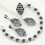 925 Sterling <b>Silver</b> Jewelry Black Cubic Zirconia White CZ Wedding Jewelry Sets Earrings/Pendant/Necklace/<b>Bracelet</b>/Ring For Women
