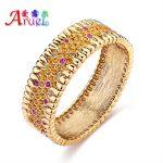 pulseira ouro African gold color <b>jewelry</b> bracelet femme Austrian crystal luxury <b>wedding</b> bride bracelets & bangles for women