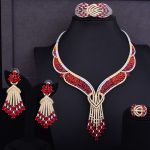 GODKI Famous Design Cluster Women Wedding Red Cubic Zirconia Statement Necklace Earring Bangle Ring <b>Jewelry</b> Set