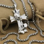 Huge 925 Sterling <b>Silver</b> FLEUR DE LIS Cross Skull Mens Biker Pendant 9R001A(<b>Necklace</b> 24inch)
