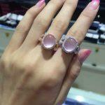 Natural rose quartz gem Ring Natural pink crystal Ring 925 <b>sterling</b> <b>silver</b> trendy Elegant scissors women's girl party <b>Jewelry</b>