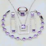 2018 New Style Purple Cubic Zirconia White CZ 925 <b>Silver</b> Jewelry Sets For Women Wedding Earrings/Pendant/Necklace/<b>Bracelet</b>/Ring