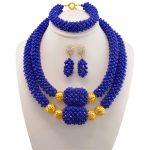 Dubai Blue Bridesmaid Necklace Set Nigerian Costume Wedding Statement Jewelry Choker African Beads Jewelry Sets For Women