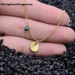 Coins Letters Personalized Necklace <b>Handmade</b> Gold Choker 7mm Pendant Vintage Opal Collier Femme Kolye Collares Womens <b>Jewelry</b>