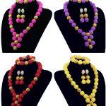 Fashion 6 color African Beads <b>Jewelry</b> Set Nigerian Costume Women Jewery Set Balls <b>Necklace</b> Bracelet Earrings Free Shipping