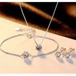 New Fashion Sale Wedding <b>Jewelry</b> Sets for Lady Authentic 925 <b>Sterling</b> <b>Silver</b> Necklace Earring&Bracelet Set Bijouterie Aretesv