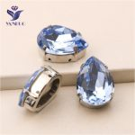 YANRUO #4320 All Sizes Light Sapphire Drop Point Back Stones Sew On Crystal Strass Rhinestone For <b>Jewelry</b> <b>Making</b>