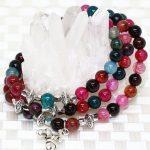 Free shipping 6mm multicolor popcorn stripe agat onyx bracelet round stone beads strand elastic new fashion <b>jewelry</b> <b>making</b> B2219