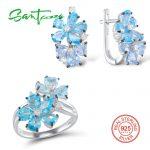 <b>Silver</b> <b>Jewelry</b> Sets For Women Blue Stone White Cubic Zirconia Ring Earrings Pure 925 <b>Sterling</b> <b>Silver</b> Fashion <b>Jewelry</b> Set