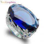 Yunkingdom Luxury Big Oval Blue Cubic Zirconia Wedding Fine Rings Banquet Party Queen <b>Jewelry</b>
