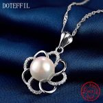 Pearl <b>Necklace</b> Woman 925 <b>Silver</b> Charm Round 10mm Pearl Pendant <b>Necklace</b> 100% Sterling <b>Silver</b> Luxury Jewelry Gift Of Love