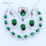 L&B Classic <b>silver</b> 925 Jewelry Sets Women wedding Green created Emerald <b>Bracelet</b>/pendant/Necklace/Earrings/Ring