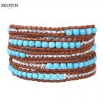 KELITCH <b>Jewelry</b> Silver Color Nuggets 5 Wrap Bracelet <b>Handmade</b> Summer Beach Travel Women Bracelet For Festival Gifts Box Packs