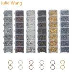 Julie Wang 1 BOX Jump Rings Lobster Buckle Set For Necklace Pendant Earrings Bracelet <b>Jewelry</b> Findings Making <b>Accessories</b>