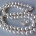SET OF 9-10MM AAA GENUINE WHITE PEARL NECKLACE, BRACELET & <b>EARRINGS</b>