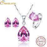 BONLAVIE 1 Set 925 Sterling <b>Silver</b> Jewelry Set Water Drop Pink Topaz <b>Earring</b> Necklace Valentine's Day Mystic Bridal Jewelry